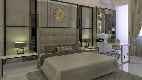 Master bedroom dengan custom dekorasi dan meja kerja